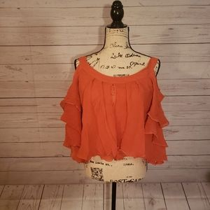 laROK cold shoulder ruffle coral small top